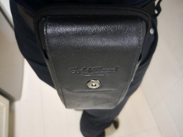 金珊瑚牛皮腰包男三星5.7寸6.0寸6.3寸大屏男士手机包穿皮带竖款腰包手机套3856 黑色大号 晒单图