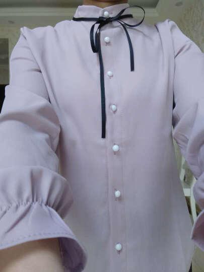 月衫裙黛衬衫女2018春秋装新款长袖直筒单排多扣立领纯色上衣时尚韩版百搭打底衫1012 粉红色 XL 晒单图