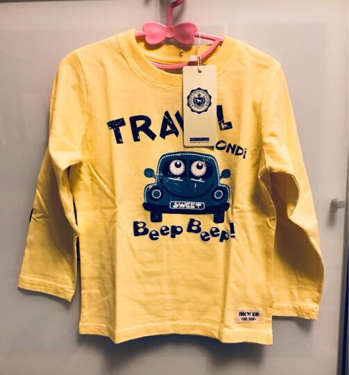 里昂迪(LIONDI) 外贸童装男孩子儿童T恤 纯棉长袖薄款宝宝上衣打底衫 男童长袖T恤 黄色 100 晒单图