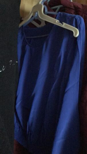 播 草原的水晶 2018春装新品女装 套头纯色长袖圆领真丝套头衫恤女 W00秋白 L 晒单图