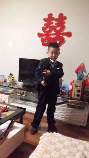 衣诺坊 韩版儿童西装套装花童外套儿童西服主持人男孩礼服大童宝宝 黑色套装不含马甲 140cm 晒单图