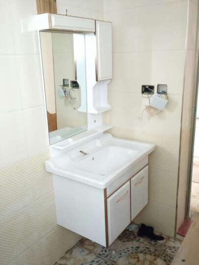 沐良卫浴 浴室柜洗脸盆柜组合现代简约卫浴柜洗手盆欧式PVC玉石浴室柜组合 A款(陶瓷盆单龙头) 0.6米 晒单图