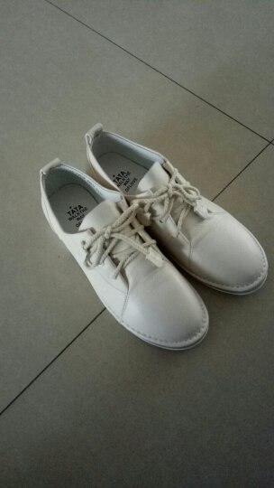 Tata/他她女鞋系带牛皮小白鞋低跟百搭单鞋2WC20CM7 白色 34 晒单图