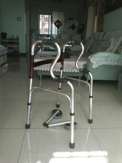艾怡佳 铝合金助行器 加厚助步器 老人康复锻炼助力器 可折叠四脚拐杖 (0169)升级款两用型 晒单图