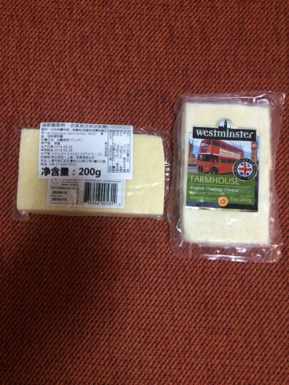 【买1赠1】威斯敏斯特 Westminster农家英式切达奶酪200g/袋芝士进口起司奶 晒单图