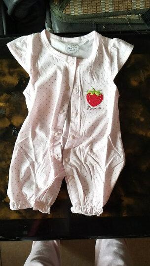 皮诺可 婴儿连体衣夏婴儿衣服哈衣爬爬服婴儿衣服0-3个月背心女新生儿连体衣纯棉P0077a 红色 66cm(66cm的宝宝建议身高59-66cm) 晒单图