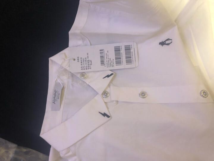 【春】爱法贝童装2018春装新款男童长袖衬衫儿童白色衬衣111A501 本白 110cm 晒单图