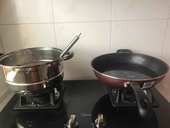 苏泊尔(SUPOR) 炒锅不粘锅不锈钢蒸锅锅具套装厨具两件套燃气灶专用 晒单图