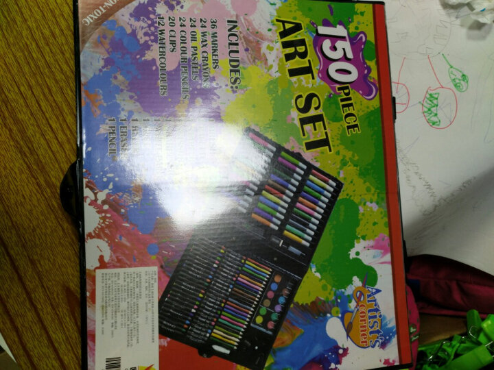 欧锐 儿童绘画文具套装168件可水洗水彩笔蜡笔 绘画笔 美术画画礼盒装 蓝色 晒单图