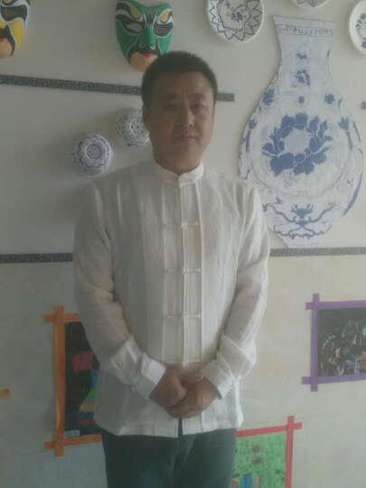 意树2017新款男士长袖衬衫 原创中式立领修身衬衣中国风男装 白色 170/M 晒单图