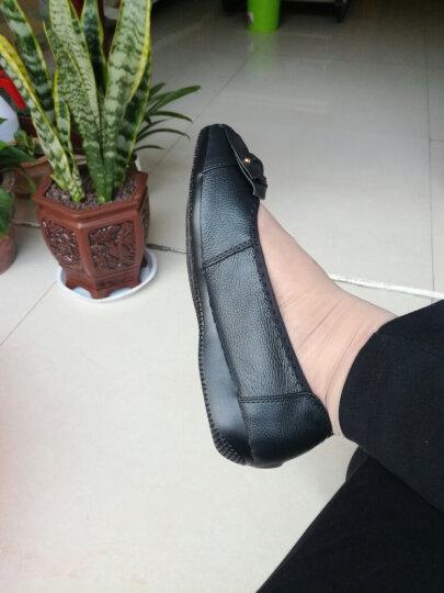 宝思特新款真皮平底平跟休闲女单鞋软牛皮软底妈妈鞋花朵跳舞鞋加大码女鞋子 蓝色 41 晒单图