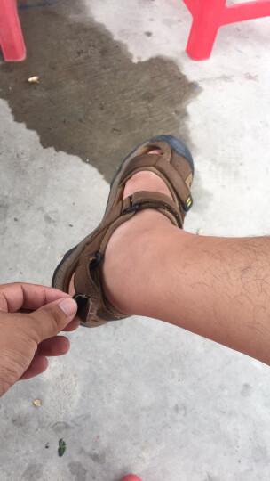 查乐尼(CHALENI)凉鞋 男士新款真皮沙滩鞋 户外休闲特大码凉鞋 男加大号包头凉拖鞋 深棕色 39 晒单图