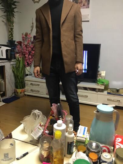羊毛呢大衣男短款男士呢子外套加厚韩版修身英伦青年风衣潮流妮子大衣男款冬季 驼色+黑色毛衣 L 晒单图