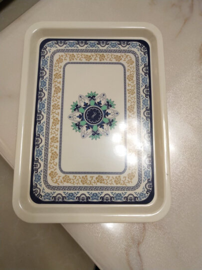 陶锦玉茶盘托盘塑料青花长方形烧烤水果盘干果盘蛋糕盘 青花茶盘 晒单图