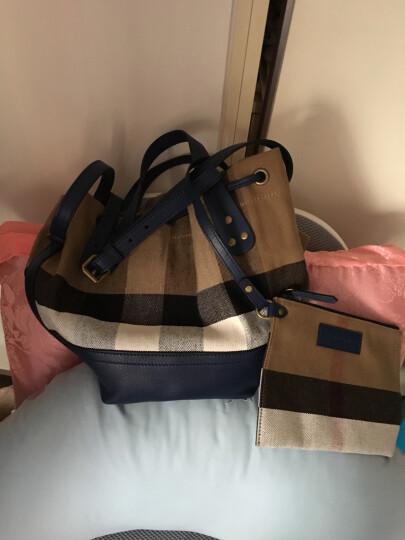 BURBERRY 巴宝莉 女士蓝色棉麻格纹手提单肩水桶包 40533231 晒单图