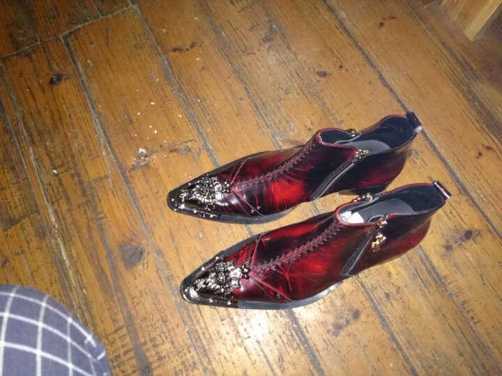 [定制]英伦男靴子男鞋男靴真皮皮靴铆钉马丁靴铁头韩版潮男发型师X 酒红色 41 晒单图