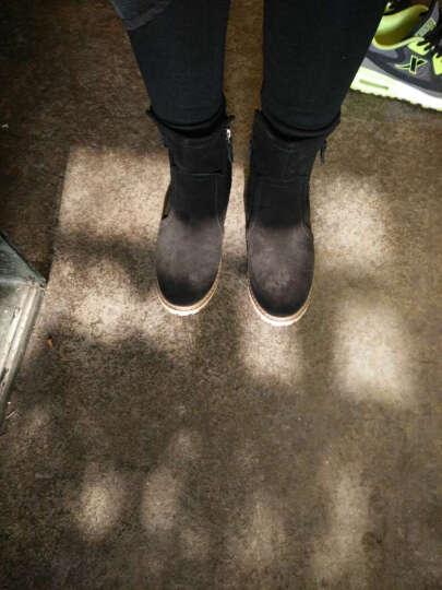 爱麦思2018秋冬新款女靴擦色复古马丁靴雪地靴女平底磨砂皮短靴粗跟女鞋 黑色加厚 36 晒单图