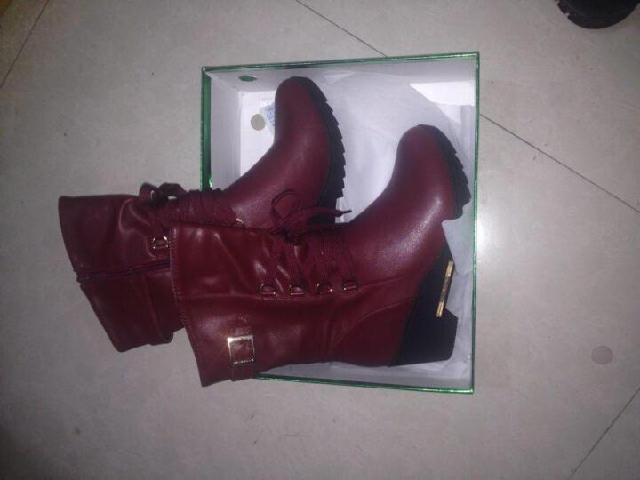 盾狐秋冬新款女靴 坡跟中筒靴英伦马丁靴女保暖雪地靴高跟女鞋 DH5832黑色加绒 35 晒单图