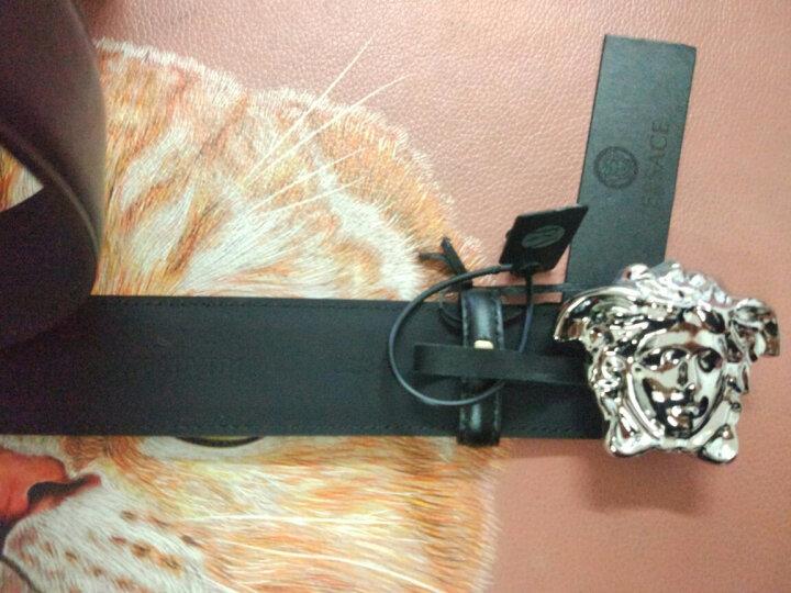 VERSACE 范思哲腰带 男士美杜莎牛皮板扣平滑扣皮带 黑带金头 95cm(适合2尺7-2尺9腰围) 晒单图