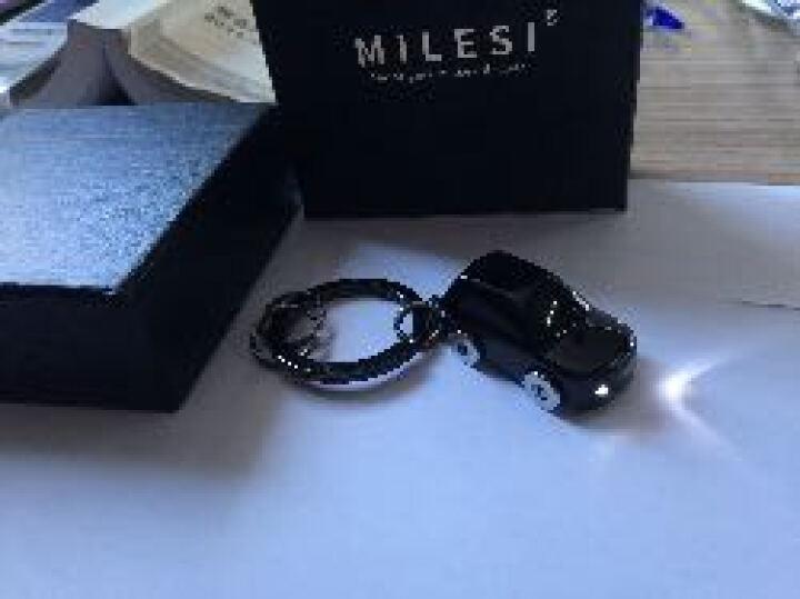 米勒斯 LED灯汽车钥匙扣挂件头层牛皮钱包套装礼品皮带腰挂钥匙链环生日礼物男女生 创意实用公司小礼品 银黑色(匙扣/包) 晒单图