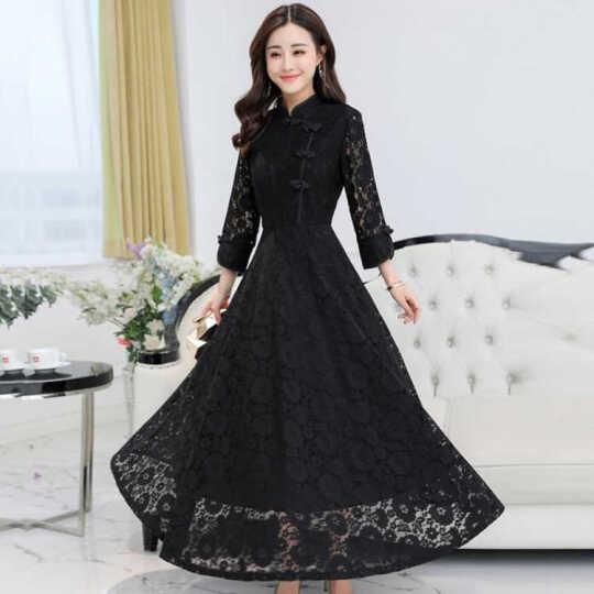艾慕琳蕾丝连衣裙中长款2018春季新款修身显瘦复古旗袍大码女装七分袖性感裙子B18 黑色 3XL 晒单图