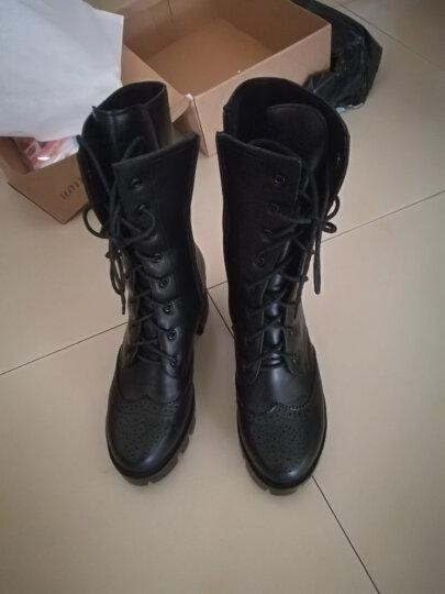 华洛威秋冬新款韩版真皮女靴时尚短靴厚底粗跟马丁靴中筒布洛克机车骑士女靴子 黑色单里 39 晒单图