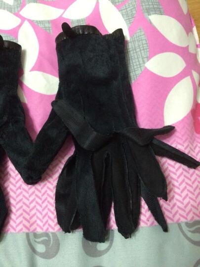 拉蒙娜 冬季小山羊皮手套韩版蝴蝶结保暖加厚绒里真皮手套女 F642 黑色 M 晒单图