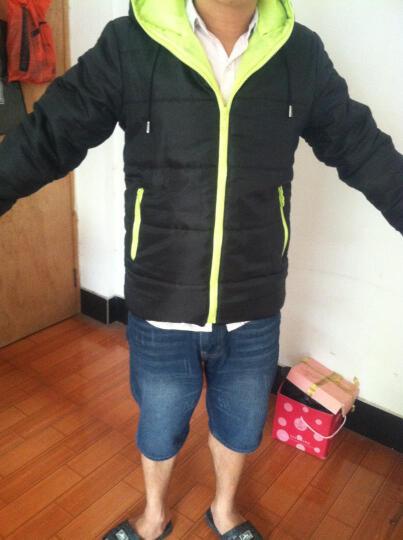 丹杰仕2015男款五色棉衣糖果色拉链连帽现货时尚百搭 棉服外套 黑配绿 XXL 晒单图