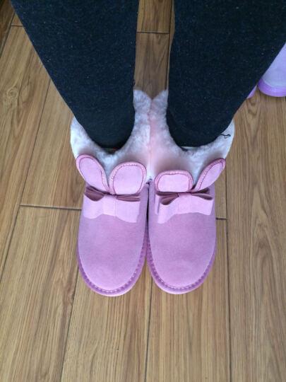 Lordel女鞋雪地靴短靴女内增高冬季新品翻口羊毛毛女靴子平底真皮学生棉鞋子 紫色平底 36 晒单图