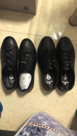Montagut/梦特娇春新款男鞋圆头橡胶底粒面皮休闲皮鞋8729 黑色 40 晒单图