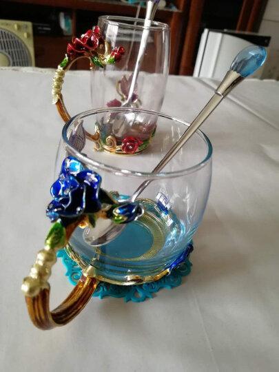 馨沐鱼 珐琅彩水杯花茶杯果汁杯耐热水晶玻璃杯礼盒装生日礼物 矮款玫瑰蓝色+水滴勺 晒单图