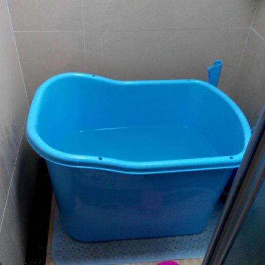 洗澡桶成人浴盆泡澡桶塑料沐浴桶浴缸 蓝色配蒸锅 晒单图