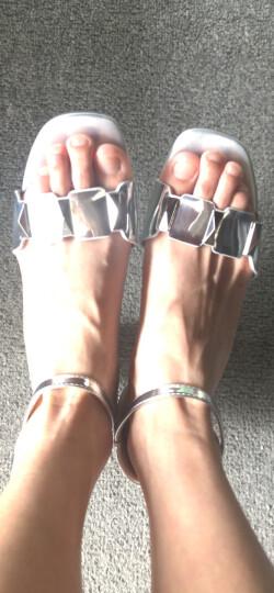 名曼中跟凉鞋女士一字扣包跟露趾透气2017夏季新款马蹄粗跟英伦OL工作休闲女鞋子 银色 37 晒单图