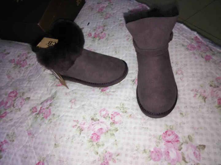 GCB雪地靴皮毛一体女鞋冬季短筒羊毛保暖加厚翻毛皮带扣 6581 巧克力色 38 晒单图