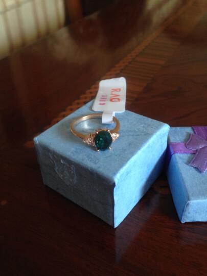 七夕情人节礼物 潮然蔻 祖母绿经典款宝石镀玫瑰金戒指送女友礼物之寓意 19MM 晒单图