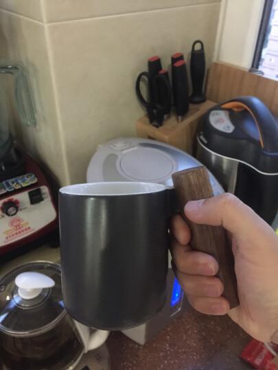 川岛屋 北欧简约冷色陶瓷木柄马克杯茶壶小资情调咖啡杯碟B-94 350CC马克杯冷灰 晒单图