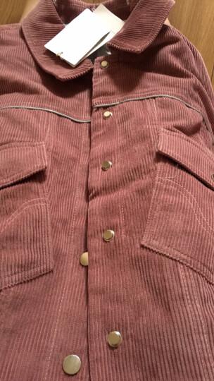 三彩2017冬装新品 滩羊毛领灯芯绒夹棉夹克衫短外套女D742865W00 粉红 165/88A/L 晒单图