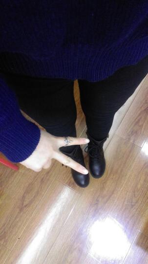 仟宇丹妮秋冬新款女靴马丁靴女粗跟短靴中筒靴骑士靴女鞋高跟鞋子 806金属扣加绒 36 晒单图