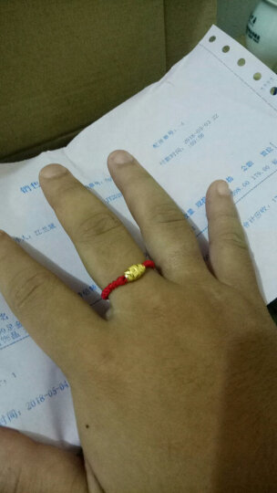 兆禧 999足金编织红绳男女款情侣转运珠黄金戒指 指环 黄金首饰品 本命年 约0.42克 晒单图