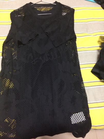 MO&Co.罗纹圆领烧花图案镂空内搭背心透视连衣裙MA162SKT67 moco 黑色 XS 晒单图
