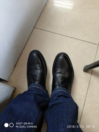 勿上热风休闲鞋男新款雕花男士时尚系带皮鞋H43M7713 01黑色 41正码 晒单图