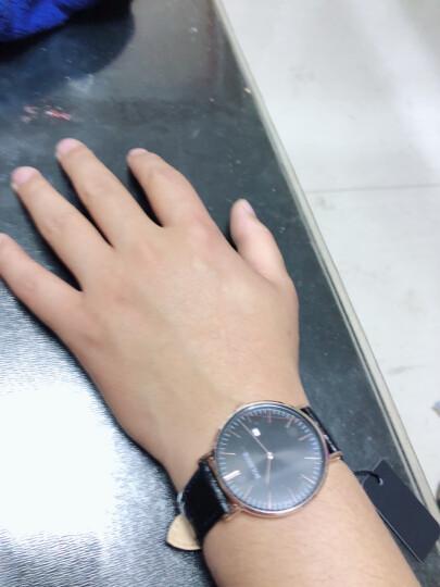 BOLERCE手表男士学生超薄简约时尚休闲防水皮带商务腕表 棕皮带*银白壳纯白面 晒单图