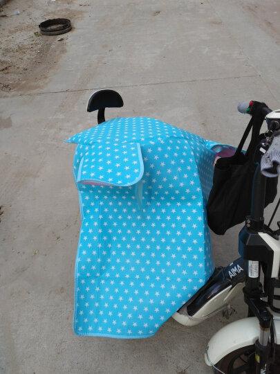 电动车挡风被夏季遮阳手套罩子护把 电瓶摩托车挡风被套装 护膝护腿 骑车防走光带兜带口袋 四层侧加宽带兜蓝色小兔 晒单图