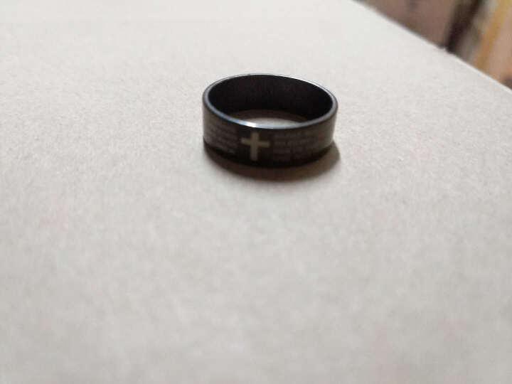 翼力黑色文十字架钛钢男士戒指食指中霸气男戒子韩版时尚指环 黑色 20码 晒单图