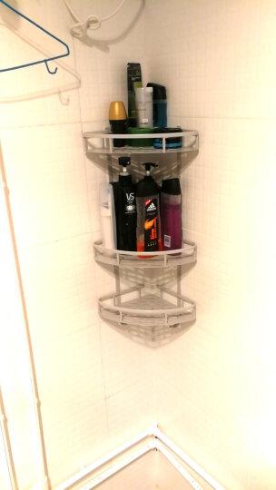 【免打孔】百字 卫生间置物架 收纳架 吸壁式太空铝免打孔浴室置物架 两层三角加高款 晒单图