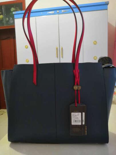 HONGU红谷女包新款品牌牛皮翅膀包单肩包女包购物袋手提包牛皮女大包 深蓝加大 晒单图