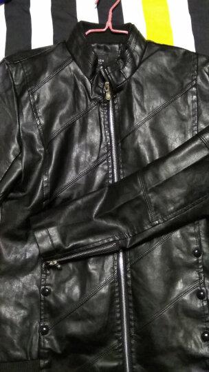 夏线(XIAXIAN)2018秋冬新款男装外套韩版修身休闲加绒加厚皮衣皮夹克男 6602酒红-常规 XL 晒单图