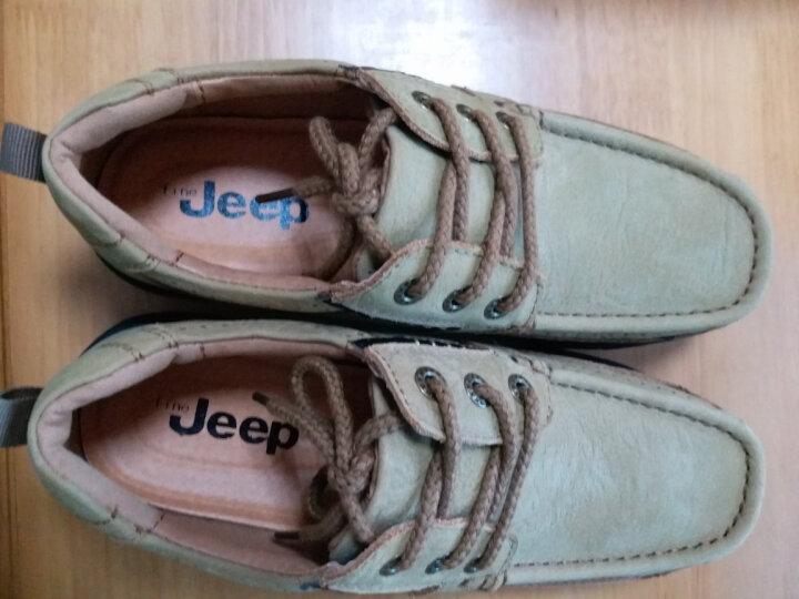 fine jeep男鞋透气真皮休闲鞋户外登山鞋大头鞋徒步鞋头层牛皮磨砂皮系带单鞋英伦工装鞋 古铜色 40 晒单图