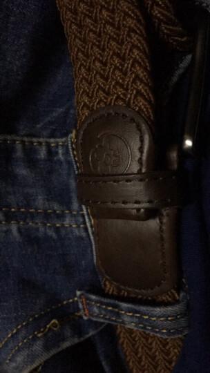 豆鼓眼休闲男士腰带针扣皮带帆布编织弹力松紧运动腰带YD002 棕色 晒单图
