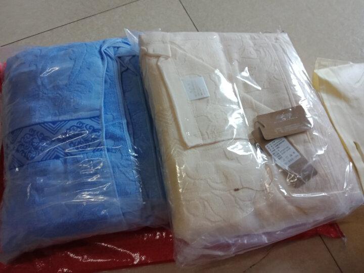 帝菲雅 毛巾被纯棉提花缎档单双人毛巾毯全棉盖毯空调被 凤尾花-蓝(四层纱布) 150*200cm 晒单图